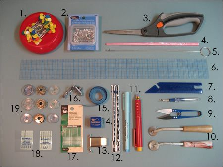 Basic lists of sewing tools and information about presser feet and recommendations for sewing machines.