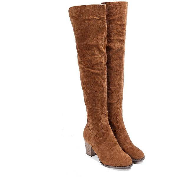 Yoins Brown Nubuck Leather Over The Knee Boots ($58) ❤ liked on Polyvore featuring shoes, boots, brown over-the-knee boots, brown boots, zipper ankle boots, over knee boots and brown thigh high boots