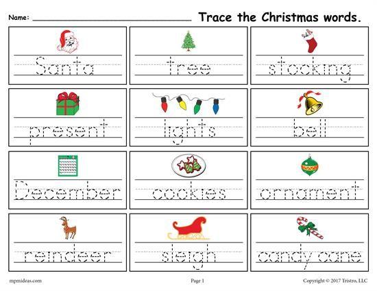 FREE Printable Christmas Words Handwriting & Tracing Worksheet ...