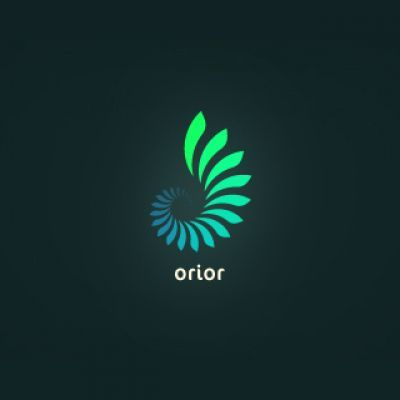 Simple logo constructed from a repeating shape and filled with a gradient to enhance the glowing effect