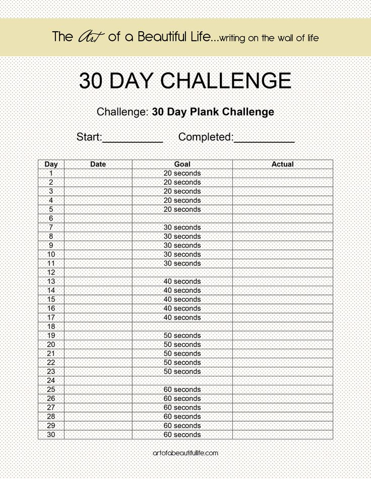30 Day Plank Challenge - An Easy 30 Day Plank Challenge ...