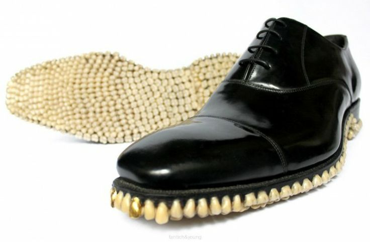 Shoes Made Of 1,050 Teeth, ugh  (so, when they need repair, do you go to a dentist?)