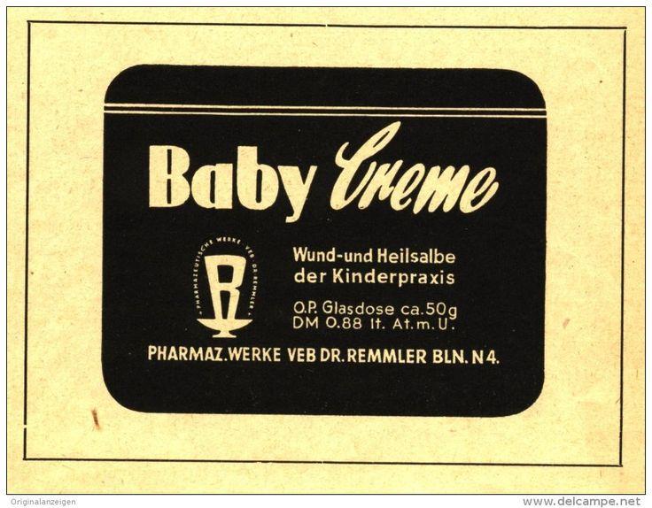 Original-Werbung/Inserat/ Anzeige DDR 1953 - BABY CREME - VEB DR.REMMLER- ca. 110 x 80 mm