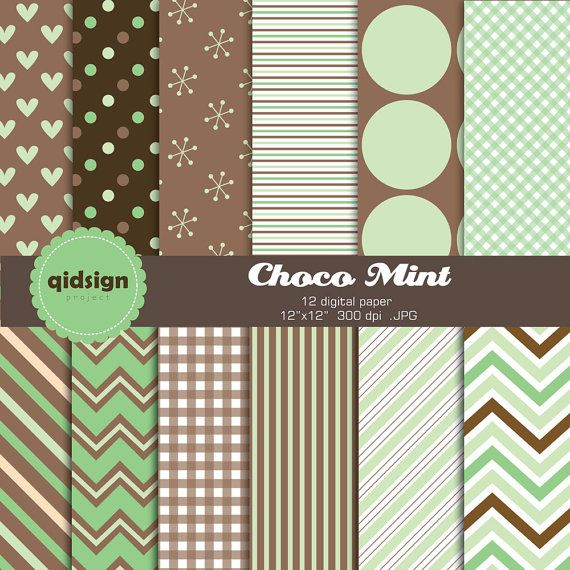 Hey, I found this really awesome Etsy listing at https://www.etsy.com/listing/152331710/mint-brown-chocolate-digital-paper-pack