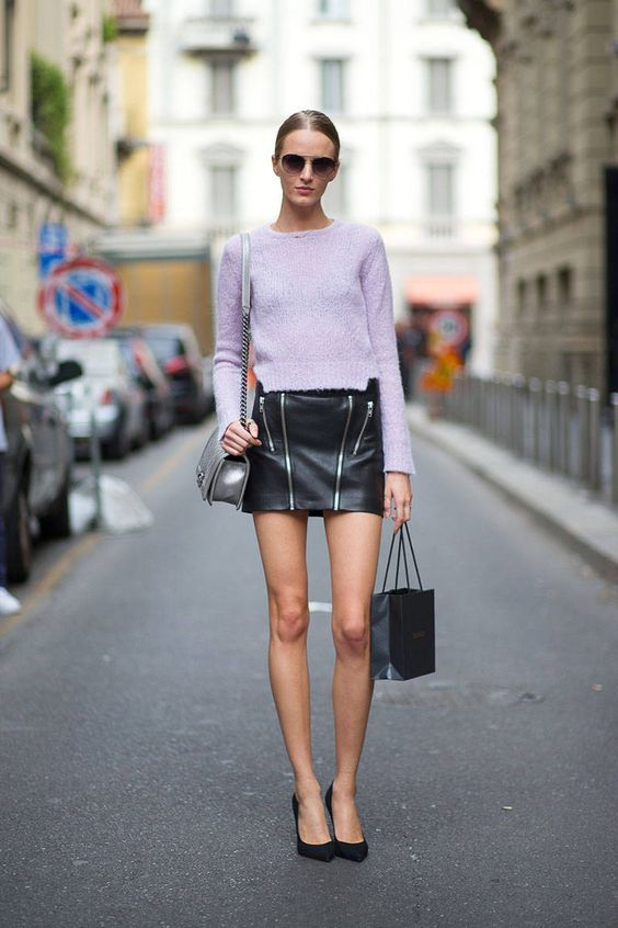 1cfd3fbb9e3 Lavender Outfit Ideas to Try in 2018  Keep it simple with a lavender  sweater black mini skirt and classic pumps.