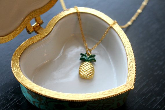 Gold pineapple necklace pendant necklace by GallaghersBoutique