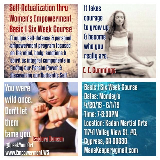 For So Cal Warrior Women! This is women's self-defense & empowerment program that views the mind, body, emotions and spirit as equally important components to develop for personal growth and physical safety. Check out our blog post for detailed information http://empowermentws.blogspot.com/2015/04/self-actualization-thru-womens.html or join the event on Facebook: https://www.facebook.com/events/476418729194058/ Feel free to share as inspired. Thank you for honoring the feminine.