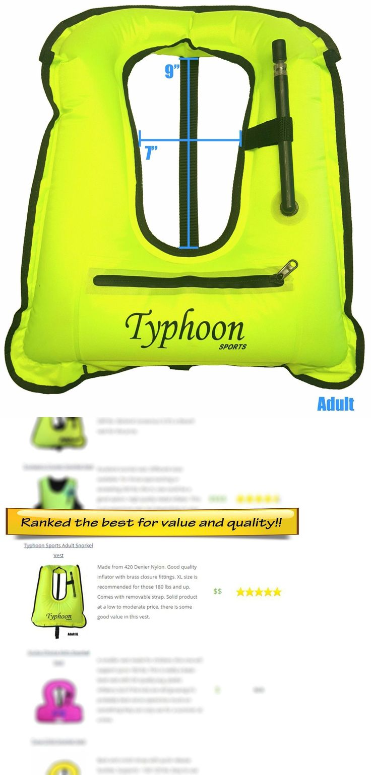 Snorkels and Sets 71162: Snorkel Vest Adult Typhoon Sports 80-180Lbs W Zipper High Viz Yellow Snorkeling -> BUY IT NOW ONLY: $33.96 on eBay!