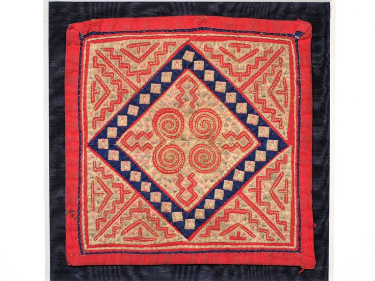FINE VINTAGE CHINESE PROVINCIAL MIAO HMONG EMBROIDERED & APPLIQUE SQUARE PANEL