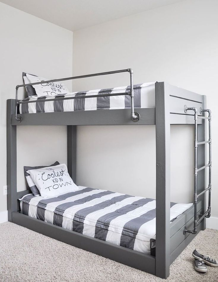 Super Cool DIY Industrial Bunk by Cherished Bliss! http://cherishedbliss.com/diy-industrial-bunk-bed-free-plans/