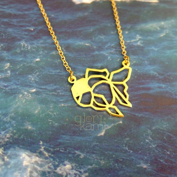 Goldfish Necklace, Origami Necklace, Fish Necklace, Animal Necklace, Geometric Necklace, Fish Jewelry, Fish Lover, Birthday Gift