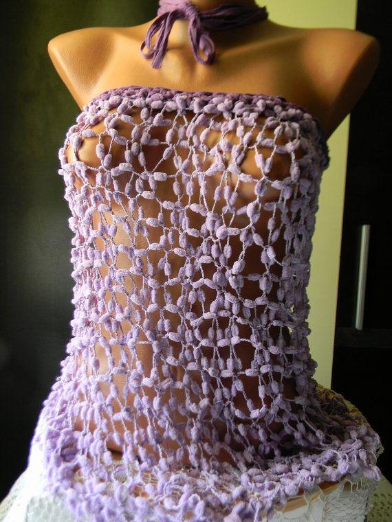 Crocheted tank / beach pareo by JadAngel on Etsy