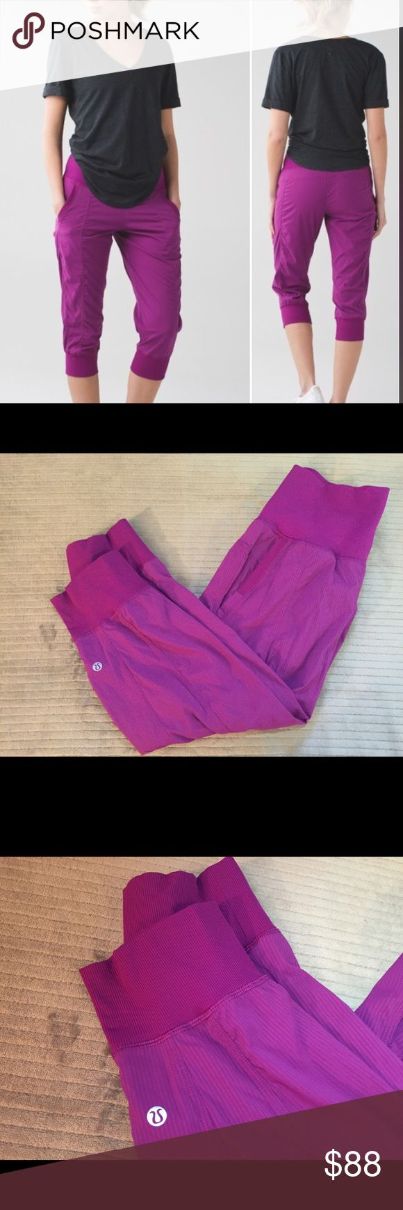 NWOT Rare Lululemon In Flux Crop Regal Plum Sold Out on Lululemon.com!! These are in new condition, worn maybe once. The style is Lululemon in flux crop in purple. These are made of the same material as Lululemon's dance studio pants and crops. Pull these easy-to-layer crops over your tights or shorts and get to class or the gym quick! Comfortable and super cute!  Key features- sweat-wicking Swift fabric moves with you cottony-soft Luon® fabric waistband is four-way stretch roll down the…