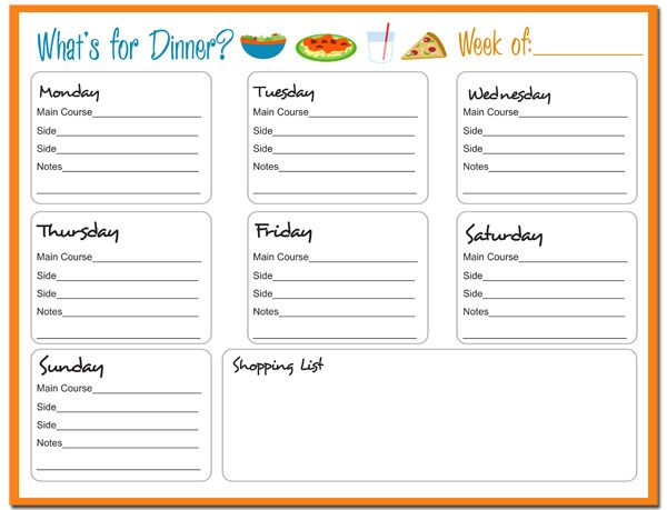 WEEKLY DINNER PLANNER. This would help me be more organized with the shopping list and all. Now...to stick to the plan.☺