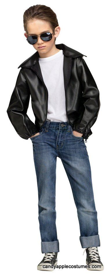 "Child Size T-Birds Gang Greaser Costume  Your kiddo will look too cool for school in this child size 50's greaser jacket! Boys' costume includes black vinyl jacket with embroidered black and white ""T Bird Gang"" patch on the back!"