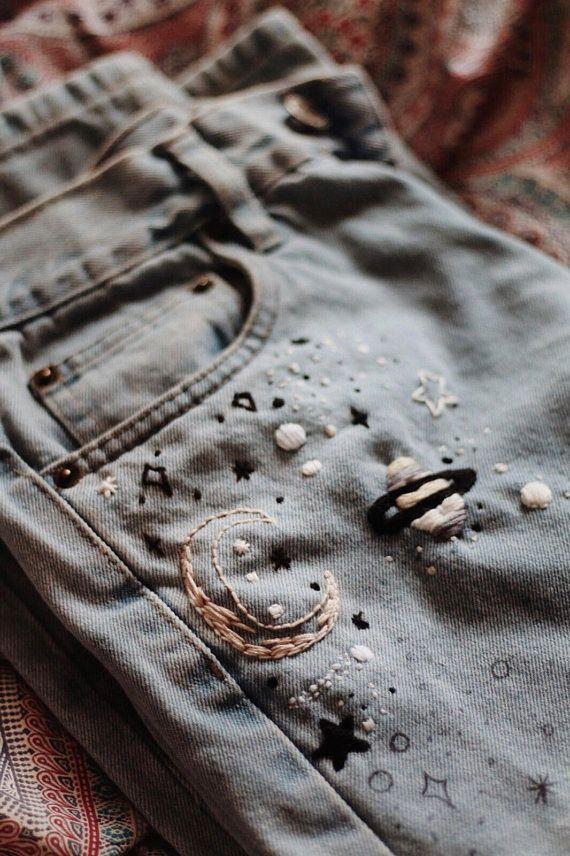 Atemberaubende handbestickte Space Vintage 80s Mom Jeans #atemberaubende #handbe…,  #80s #A…
