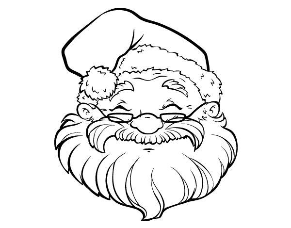 Dibujo de Una cara de Papá Noel para Colorear