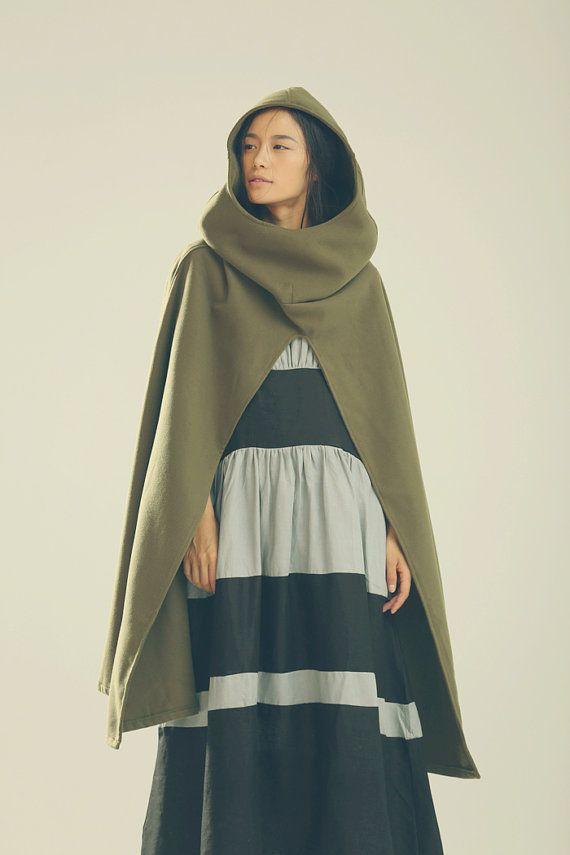 Hooded Wool Coat Jacket, Wool Cloak in Green, Wool Cape in Green, Winter Jacket for Women
