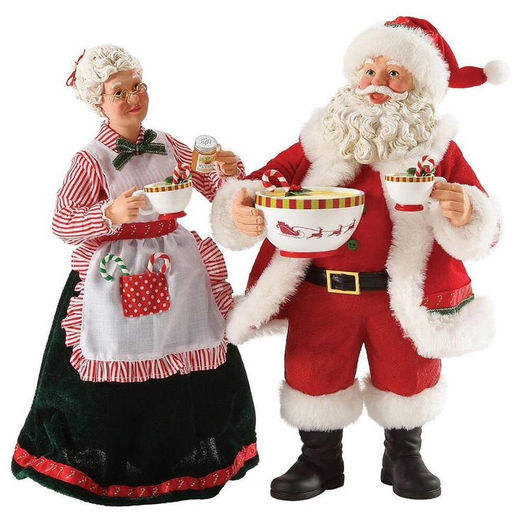Set Of 2 Dash Nutmeg Possible Dreams Santa And Mrs Claus Figure 9000