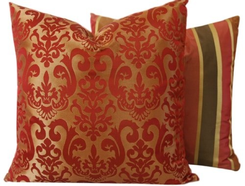 ($31.00) Florence Collection - Designer 18x18 Square Boutique Throw Pillow Covers - Jacquard Scroll and Stripes - Red, Gold, Brown, and Tan Hues - 1 Pillow Cover From Chloe