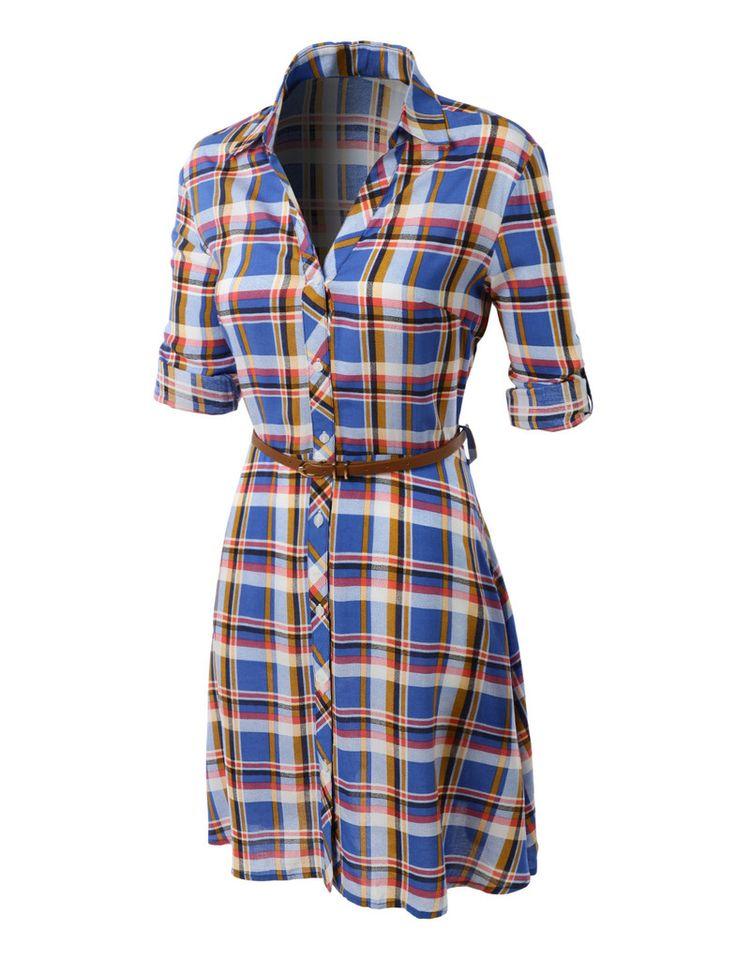Womens flowy button down plaid shirt dress with faux for Womens patterned button down shirts