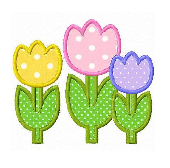 Tulip flowers applique machine embroidery design by FunStitch, $2.00