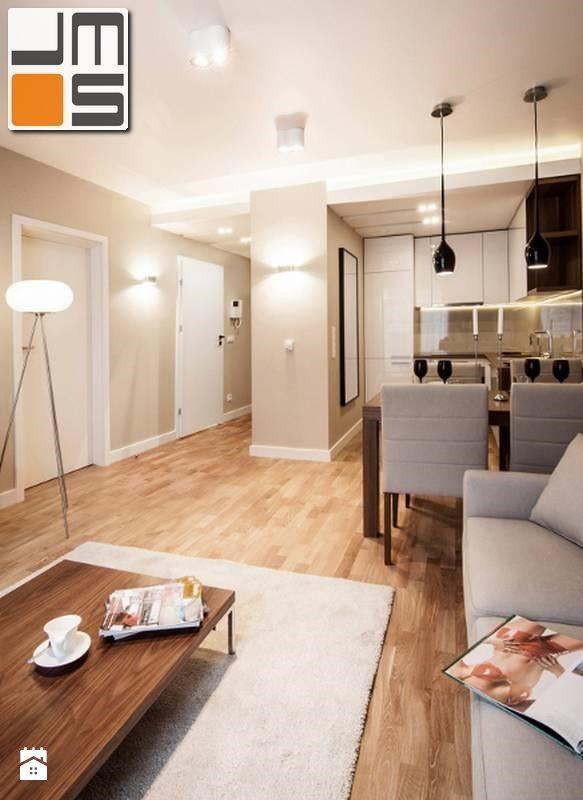 Nowoczesne oświetlenie salonu z aneksem kuchennym w niewielkim apartamancie - zdjęcie od jms STUDIO s.c. - Salon - Styl Nowoczesny - jms STUDIO s.c.