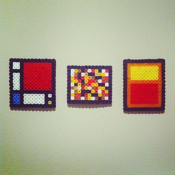 Piet Mondrian, Jackson Pollock and Mark Rothko Perler bead pixel art. by CMYBacon, via Flickr