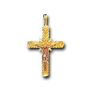 14K Solid Yellow Pink Gold Cross Crucifix Charm Pendant IceNGold. $129.95