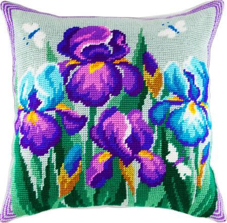 Irises pillowcase cross-stitch DIY embroidery kit
