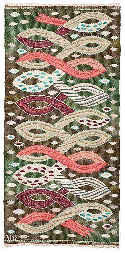 """Sweden   """"Bandet"""" tapestry variation signed AMF (Ann-Mari Forsberg, 1916-1992). Designed in 1948, woven at Märta Måås-Fjetterström AB. Label sewn at the back."""