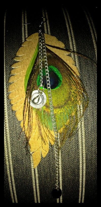 Earring feather leather