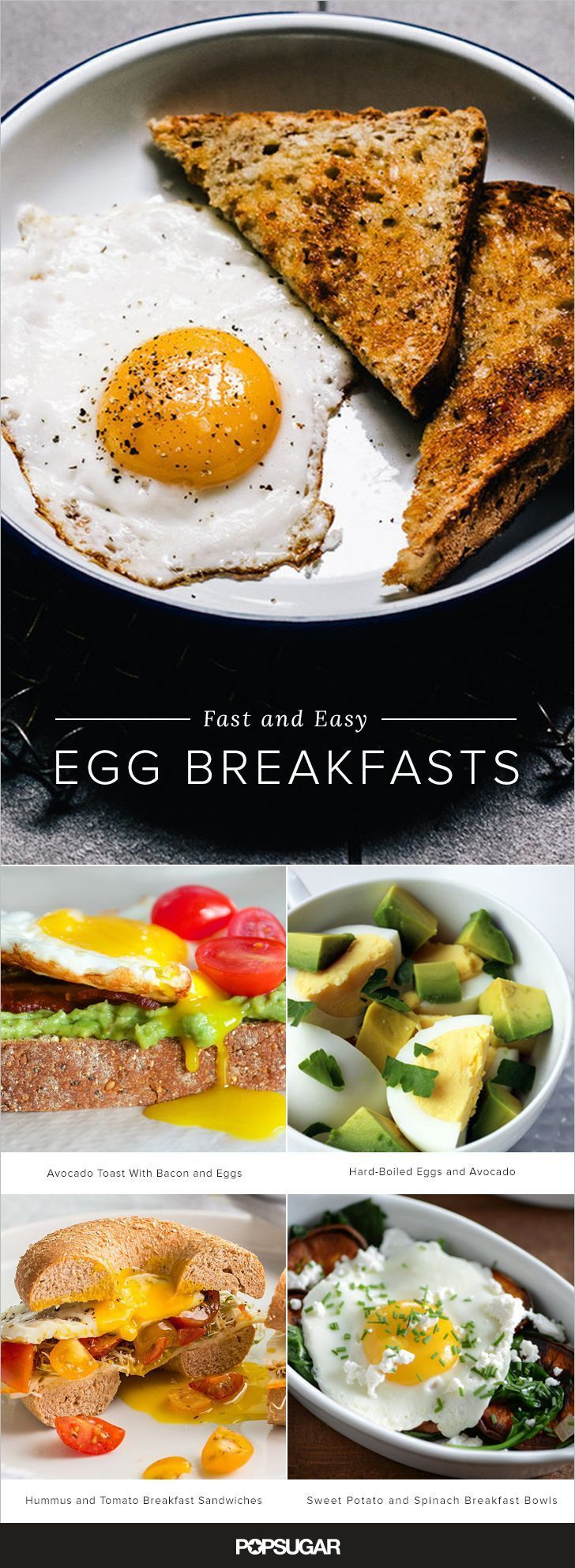 What breakfast staple is delicious, is (typically) fast to cook, and will keep you full until lunch? The egg, of course. Keep reading for more than 20 eggy breakfasts that can be made on a busy work day. Most are super speedy and require no advance prep; for the rest, we've included make-ahead tips (e.g. hard-boiling an egg the night before) so you can get your egg on stress-free in the morning.