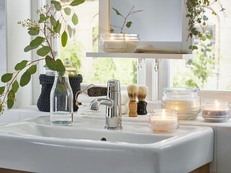 Badkamer inspiratie | #IKEA #IKEAnl #inspiratie #gootsteen #kaarsen #plant #licht
