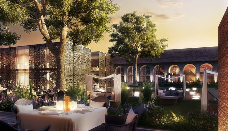 Luxury hotel courtyard we visualized in Azerbaidjan.