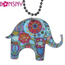 Bonsny Elephant Necklace Acrylic Long Chain Pendant 2016 news Accessories Animal Collar Colorful Design Girls Fashion Jewelry(China (Mainland))