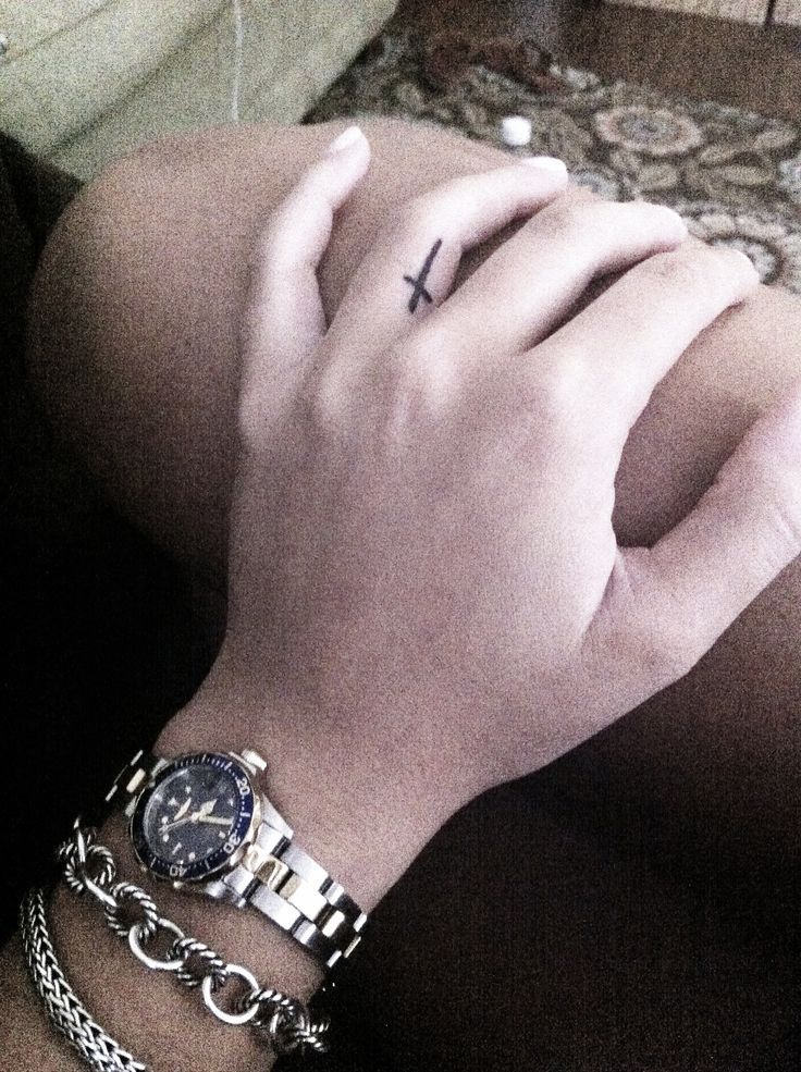 Cross Tattoo on ring finger | Words to Live By | Pinterest