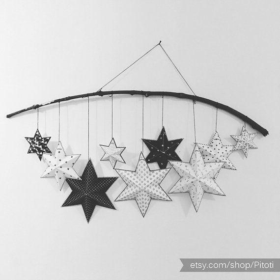 Monochrome nursery decor, Printable stars decorations for kids room, DIY stars garland or mobile, Monochrome baby room decor.