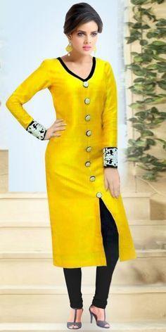 Classy Yellow Bhagalpuri Straight Salwar Suit With Dupatta.