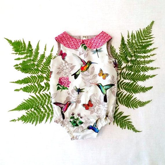 this fabulous hummingbird print baby romper comes in a variety of sizes, handmade in Australia by Fluturi. Humming Bird print baby romper Size 1 newborn gift by Fluturi