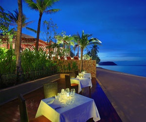 Intimate dining on the beach at Prana Beach Villas, Koh Samui, Thailand
