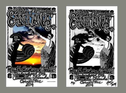 SANTANA rare GIG POSTER by Adam Turkel – Ruth Eckerd Hall, Florida Carlos Santana Concert Poster – Altamont Records