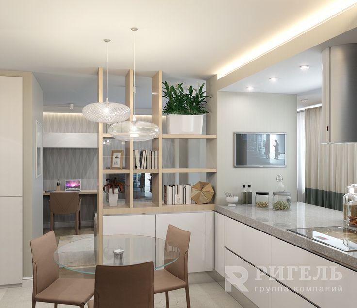 Кухонная зона. Большое светлое пространство в 36м2 от #rigelgroup!  В этом…
