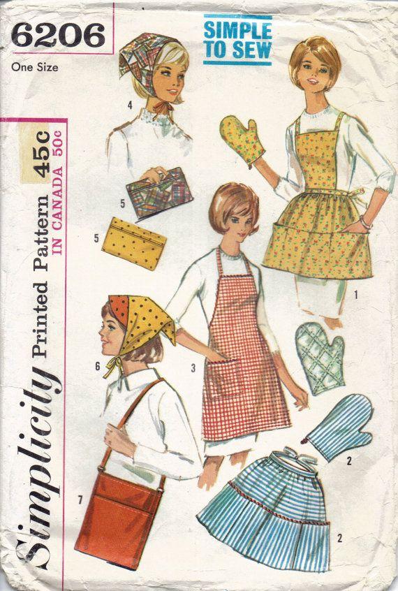 Midcentury Apron Pattern Headscarf Pattern Bag by LibertyKnits