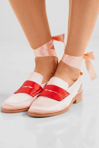MR by Man Repeller - Two-tone Satin Loafers - Pastel pink - IT40.5