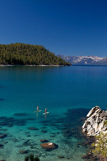 Stand up paddle boarding.   East Shore of Lake Tahoe, NV