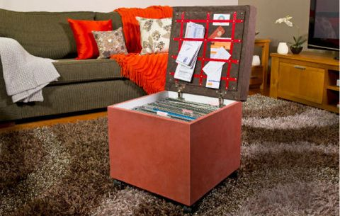 How to make an ottoman filing system: Keeping your paperwork in order can be a challenge – there never seems to be enough space to store it all. Enter the ottoman – not just any old ottoman, but one with a filing system inside. It serves a dual purpose of being a comfortable footstool and a great way of keeping a lid on your paperwork.