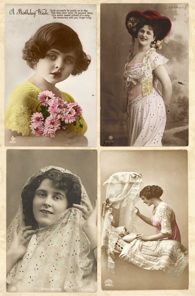 Lot 4 C1910 Tinted Real Photo Pretty Lady Girl Bassinet Vtg Antique Postcards