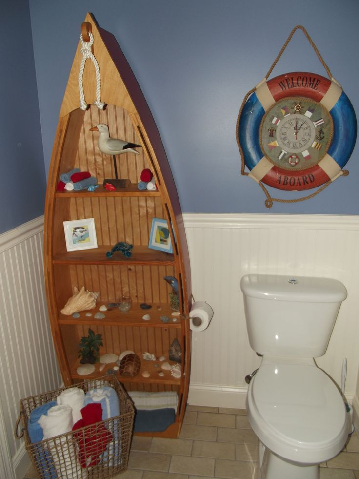 57 best images about nautical themed bathrooms on for Shelf decor items