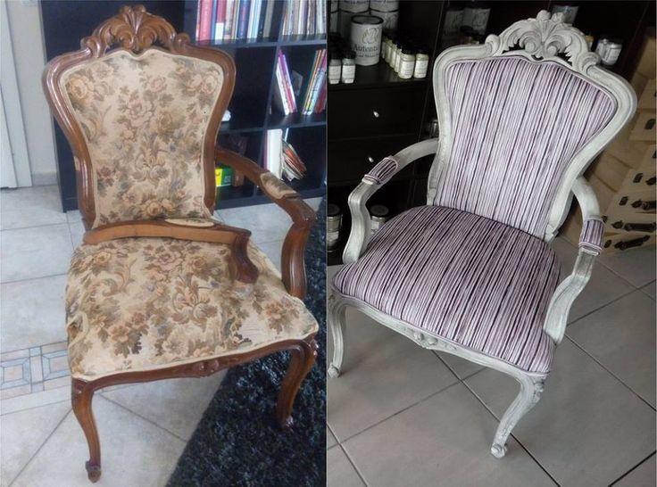 #wooden #armchair #autentico #chalkpaint #vintage #beforeandafter